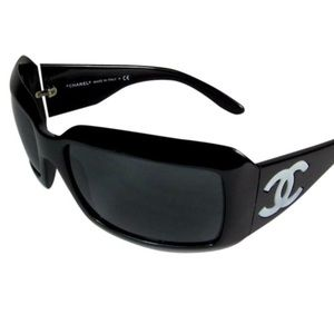"""Chanel Black & Mother of Pearl """"CC"""" Sunglasses"""